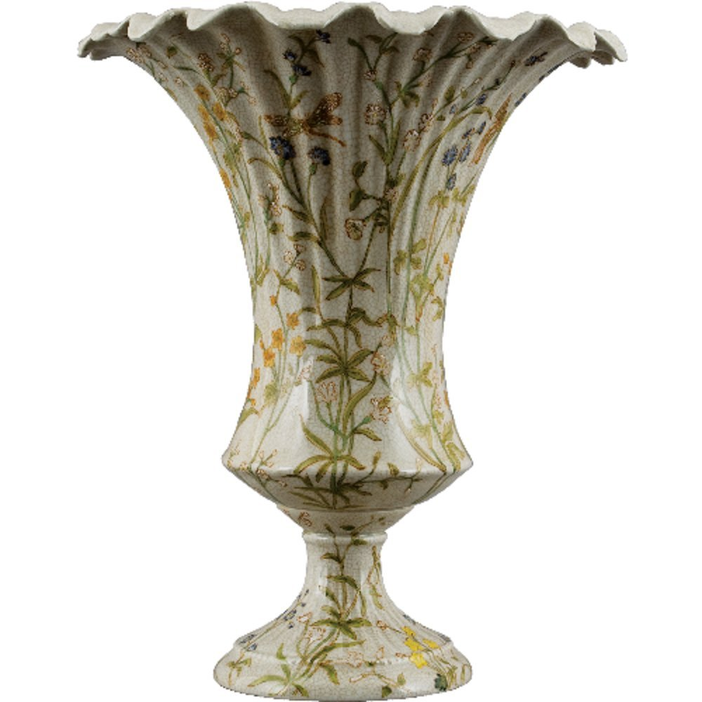 Home decor. Green and Ivory Dragonfly Vase. Vase Dimension: 11 x 13. Pattern: Dragonfly Haven.