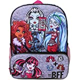 Monster High Clawdeen Wolf, Draculaura, Ghoulia Yelps and Frankie Stein 16 inch Backpack with Side Mesh Pockets