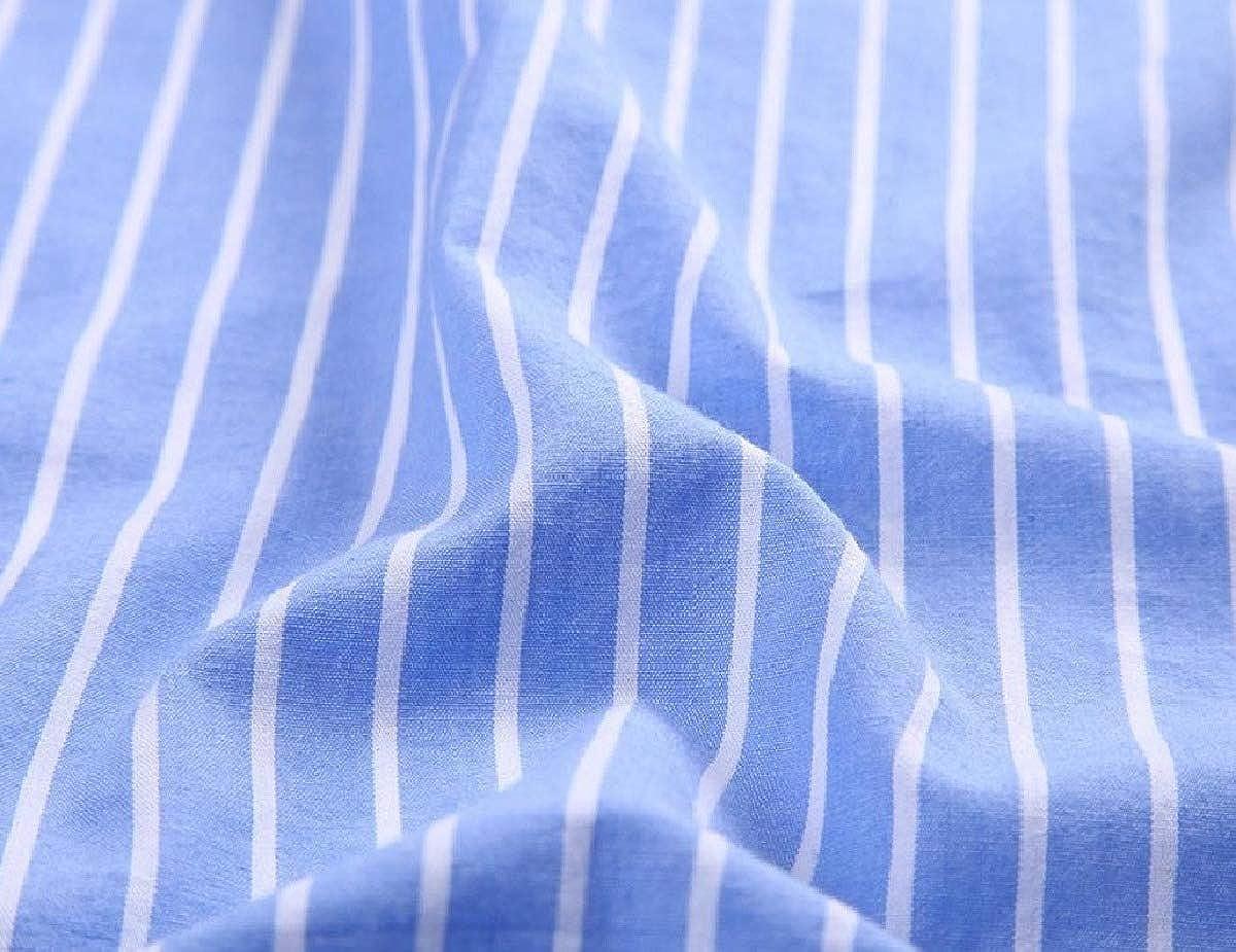 RDHOPE-Men Stripe Back Cotton Regular Fit Business Button Up Shirts