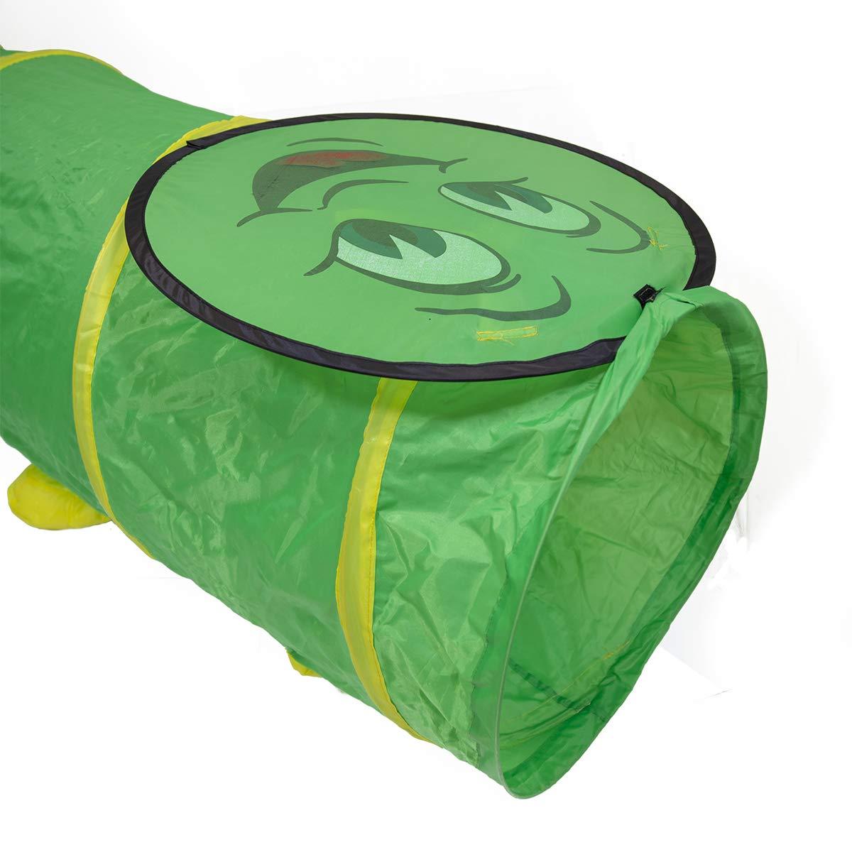 Charles Bentley Green Pop Up Caterpillar Tunnel Play Tent Indoor Kids