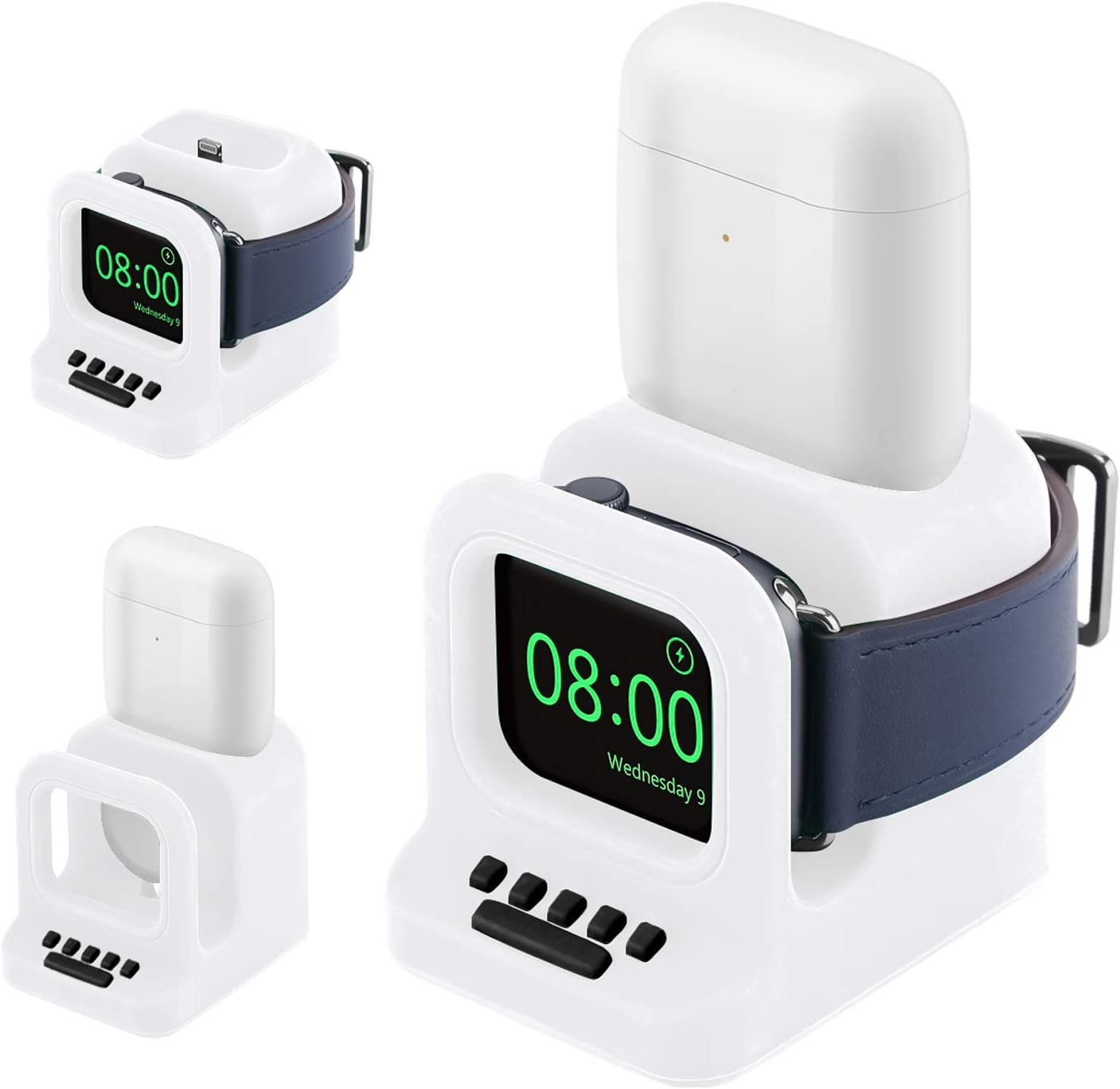 Watbro Watch AirPods Two in one Charger Storage Stand Compatible with Apple Watch 38mm 40mm 42mm 44mm iWatch Series SE/6/5/4/3/2/1,Apple Watch AirPods Accessory Charger Stand (Cables NOT Included)