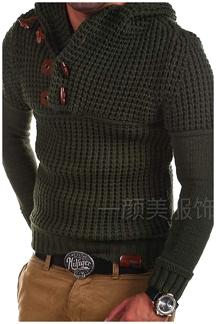 YUNY Men Pullover Jersey Autumn Long-Sleeve Knitted Pure Sweaters Army Green M