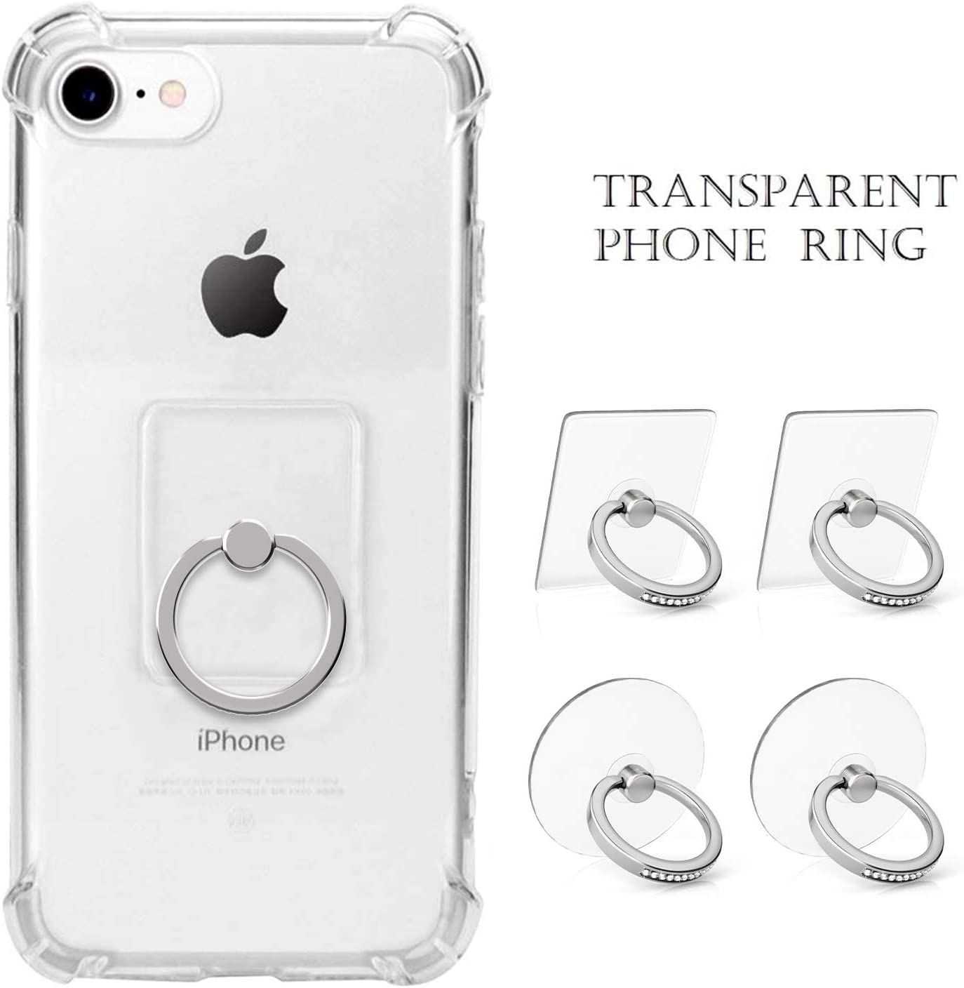 4 Silver Diamond Transparent Phone Ring Holder with Bling 360 Rotation Finger Ring Kickstand Phone Ring Grip for Almost All Phones Cell Phone Ring Holder Stand