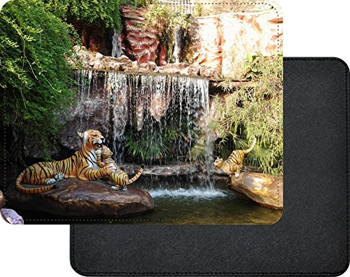 Rikki Knight Fake Tigers laying in Natures Beauty Waterfall Premium Quality Faux Leather Mouse Pad