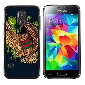 TECHCASE**Cubierta de la caja de protección la piel dura para el ** Samsung Galaxy S5 Mini, SM-G800, NOT S5 REGULAR! ** Wild Owl Bird Forest Moon Crescent Fairytale