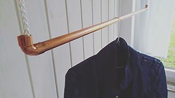 Hängende Kleiderstange 120 cm premium design kleiderstange garderobenstange aus kupfer