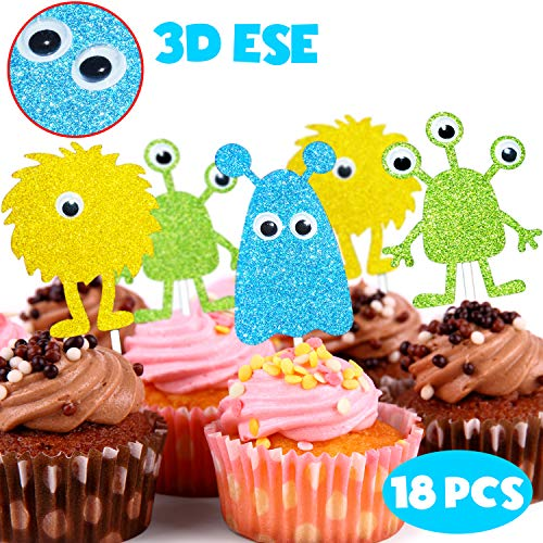 3D Eyes Little Monster Lovely Cupcake Toppers Picks for Halloween Baby Shower Birthday Party Decorations Supplies 18 Pcs