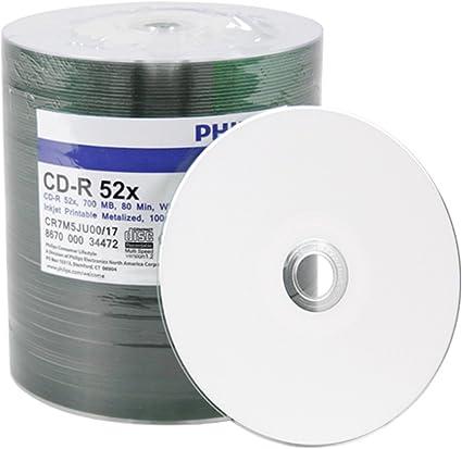 Philips 100 Cd R White Inkjet Printable Disc 52x 700mb 80min