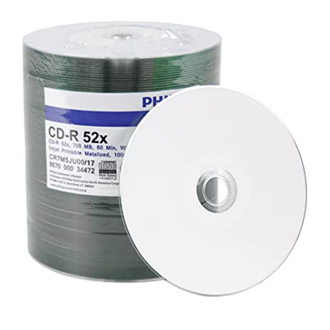 image relating to Inkjet Printable Cd titled PHILIPS 100 CD-R White Inkjet Printable Disc, 52X, 700Mb, 80Min