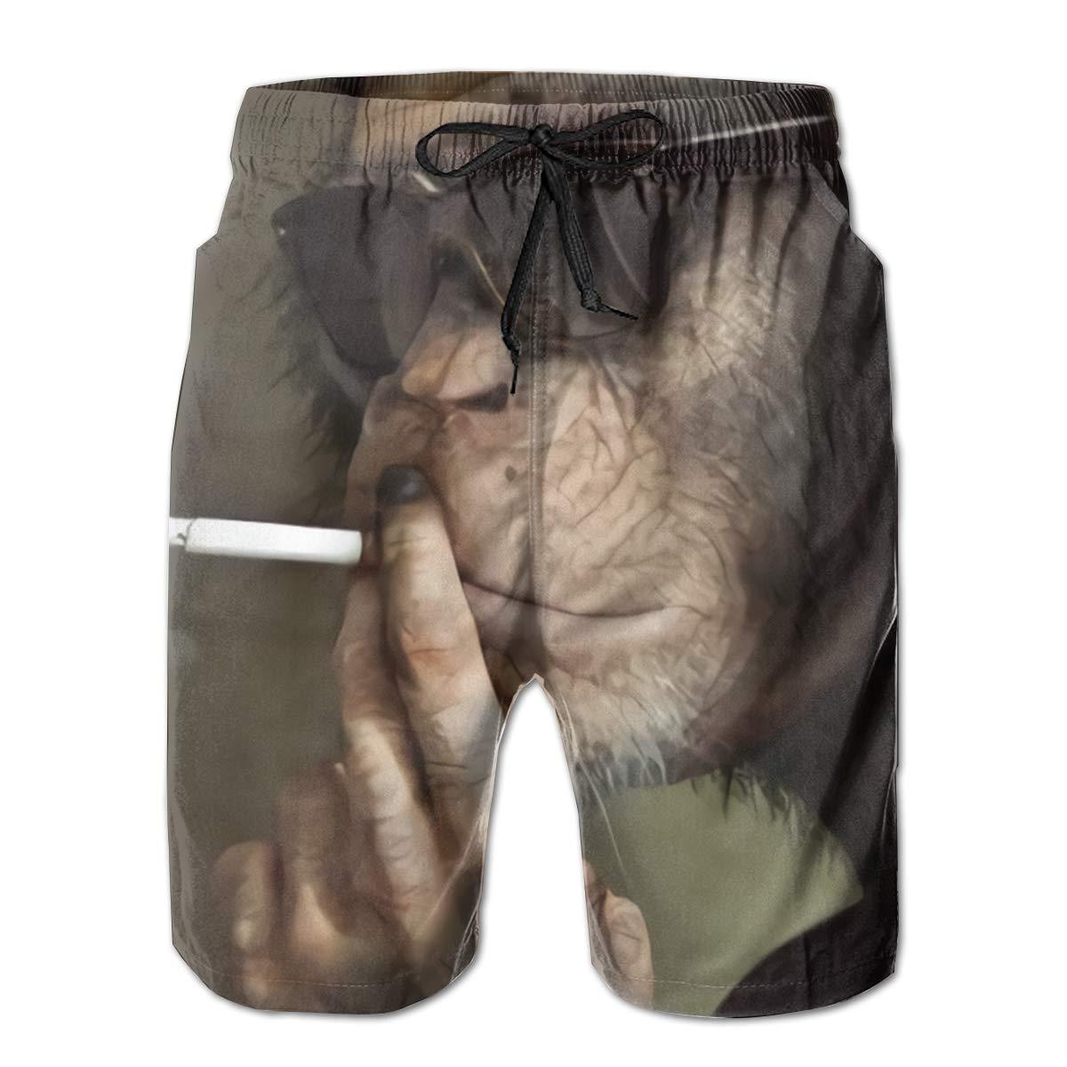 KGNVNA Smoke Monkey Mens Slim Fit Ultra Quick Dry Board Shorts Swim Trunks,Best Board Shorts for Sports Running