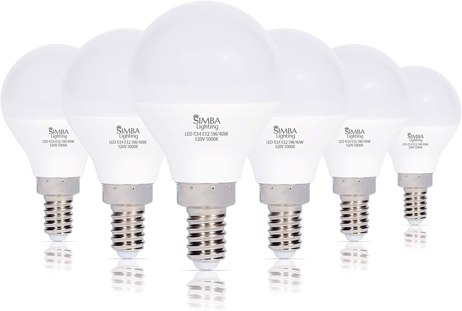 Simba Lighting LED Candelabra E12 Base G14 Small Globe 5 Watt 40W Replacement Light Bulb (6 Pack) for Ceiling Fan, Chandelier, Vanity, Round A15 Frosted White Cover, Non-Dimmable, 5000K Daylight