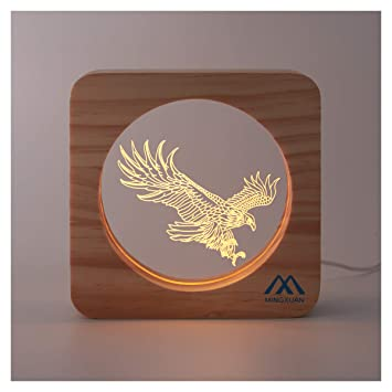 3D Night Light Eagle Design Acrylic Panel USB Power Supply Eye Caring LED  Baby Rest Night Lamp Ideal