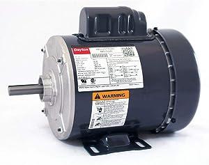 Dayton 1/2 HP General Purpose Motor, Capacitor-Start, 1725 Nameplate RPM, Voltage 115/208-230, Frame 56-6K122