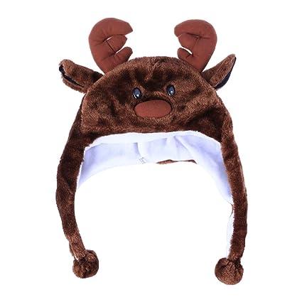 Amazon.com  LUOEM Deer Hats Animal Hat Plush Winter Ski Aviator ... 8c9f48f93792