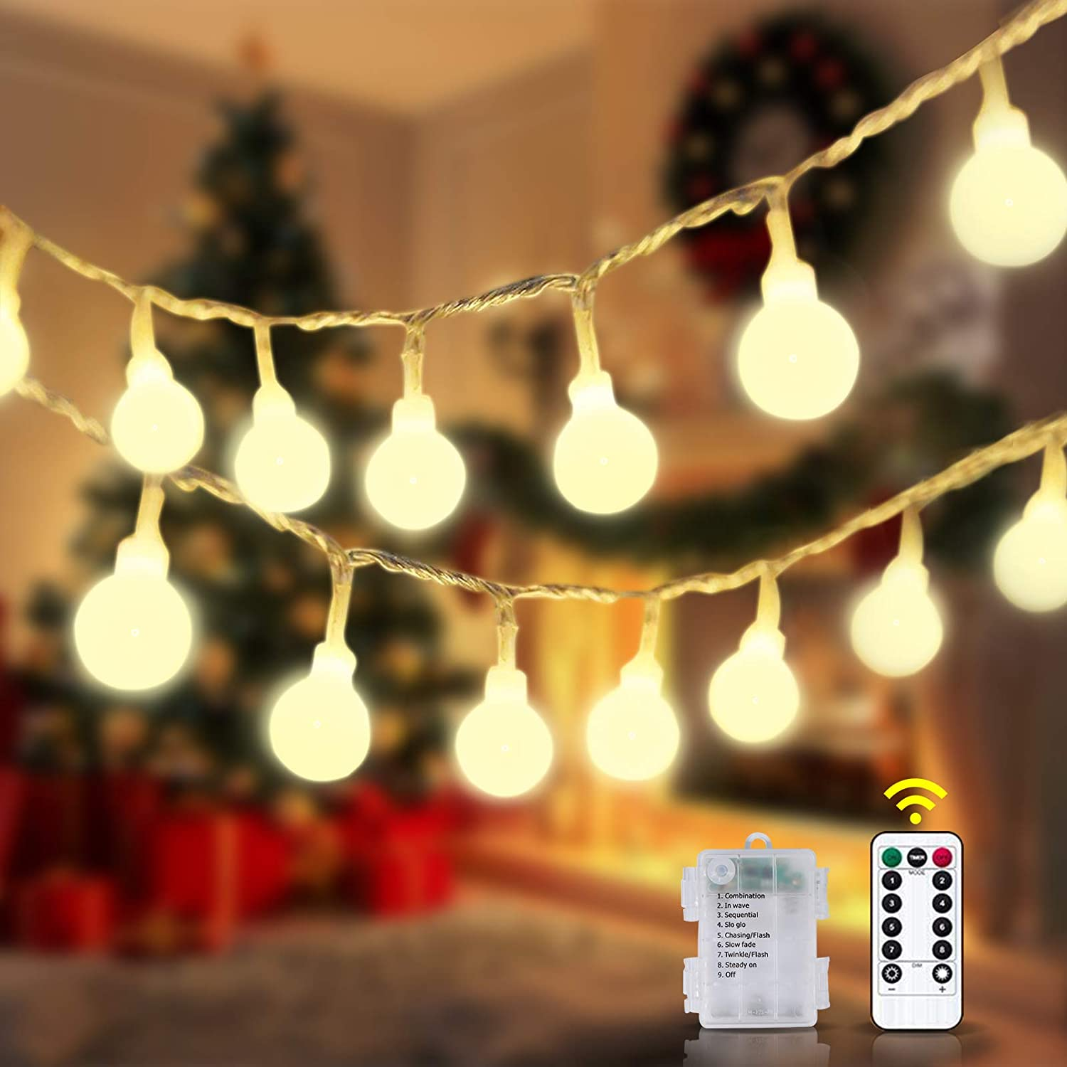 E-POWIND 80 LED String Lights with Remote Control, 8 Modes Fairy Light with Timer, Battery Operated Waterproof Christmas Tree Lighting Decor for Bedroom Wedding Party Backdrop - Warm White, 33 Feet