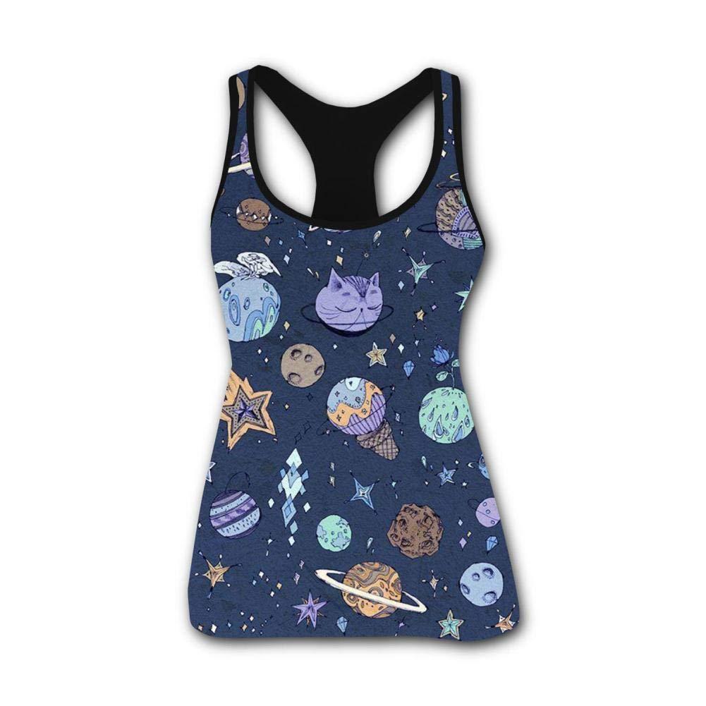 Space Universe Planetes 3D Print Summer Fashion Sleeveless Tanks Vest Top Women Girl XXL