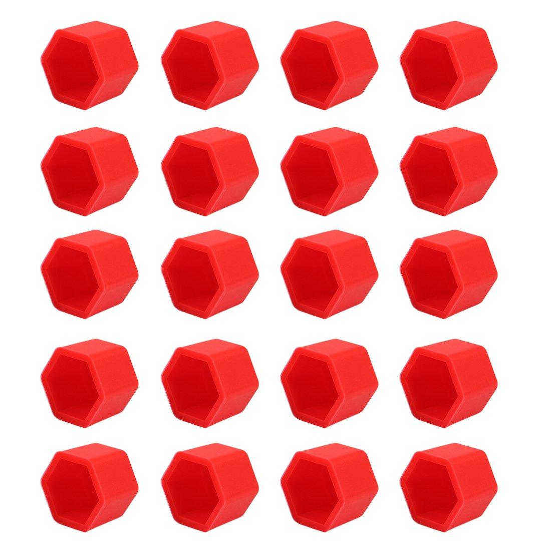 Rojo, 19 mm Andux Zone Llantas de la Tuerca del tir/ón de la Rueda Cubiertas Luminosas del Perno del neum/ático del maleficio del silic/ón de la Noche 20 Piezas LSBHT-02