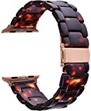 CRYSENDO Ultra Light Resin Band Strap Compatible with Apple Watch Series 1,2,3,4. with Rose Gold Buckle for 42-44mm Watch (Tortoise Tone Resin)