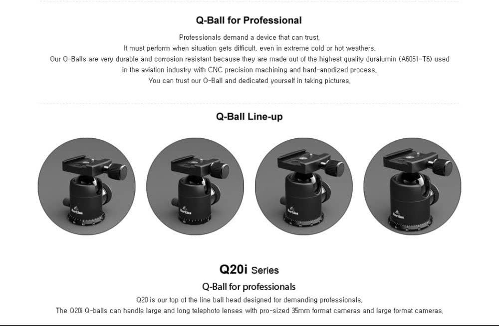 Markins Q20i Q-Ball i-Type Ball Head with Quick Turn knob Quick Shoe in Black