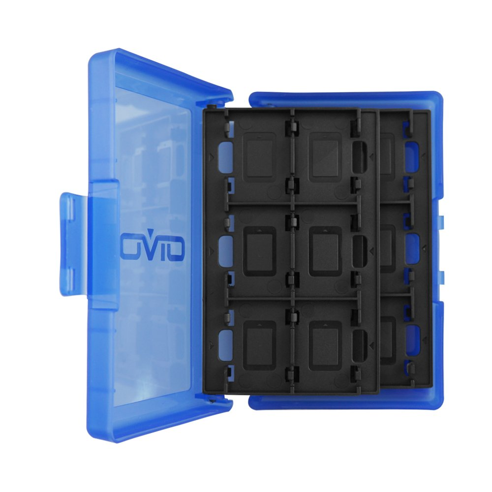 Game Card Case, HelloPower Nintendo Switch Game Card Case travel Carrying Storage Card Box Holder TF Card Case for Nintendo Switch with 24 slots (Blue) by HelloPower (Image #2)