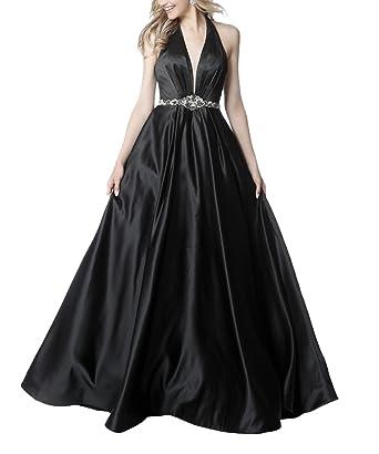 Womens Long Satin Prom Dresses Halter V Neck Evening Formal Gown With Belt Black Size 2