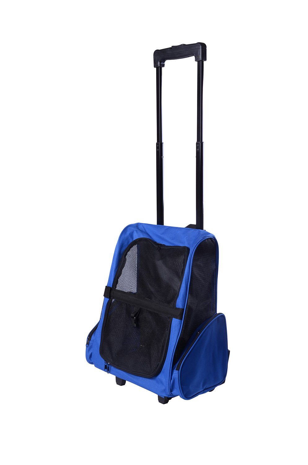PawHut 4-IN-1 Pet Luggage Box Carrier Cat Dog Backpack Crate Rolling Wheel w/ Removable Stand Blue D1-0011