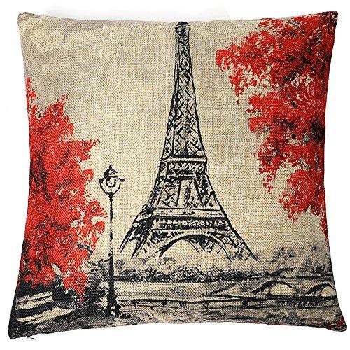Kate Pillow Cover Paris Eiffel Tower Throw Pillow Covers Decorative Pillowcase for Couch 18 x 18 Inches Oil Painting Cotton Linen Blend Pillows - Paris Pillow