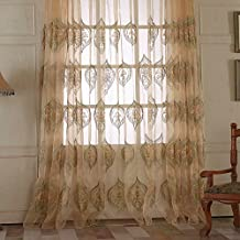 """100""""W x 63""""L (Set of 2 panels) Multi Size Available Custom Country Rustic Jacquard Floral Rod Pocket Energy Efficient Window Treatment Draperies & Curtains Panels Sheer Curtains"""