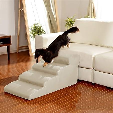 Escaleras para Mascotas de Arroz Blanco-PU de la PU, rampas de escaleras Impermeables 2/3/4 para Gatos y Perros pequeños, soporta hasta 75 kg (Size : 4 Step 50cm): Amazon.es: Hogar