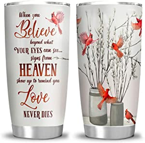 64HYDRO 20oz Cardinal Bird in Heaven When You Believe Tumbler Cups with Lid, Double Wall Vacuum Sporty Thermos Insulated Travel Coffee Mug