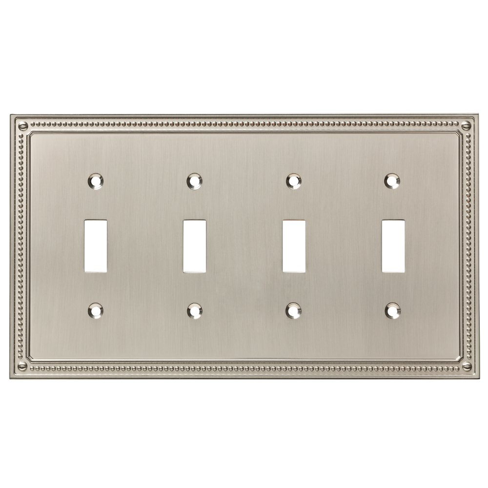 Franklin Brass W35068-SN-C Classic Beaded Quad Switch Wall Plate/Switch Plate/Cover, Satin Nickel