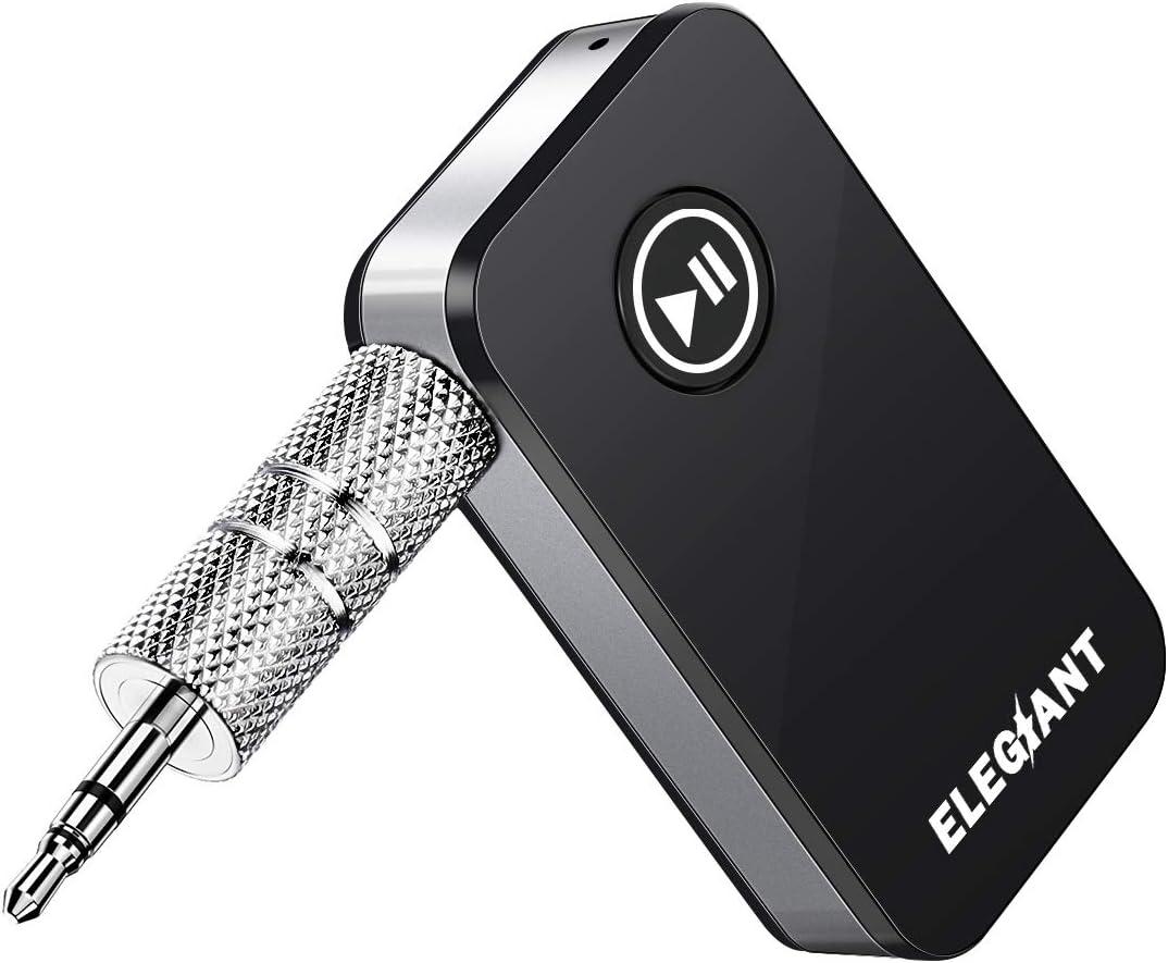 ELEGIANT Receptor Bluetooth 5.0, Adaptador Inalámbrico Audio Portátil para Altavoces Auriculares USB para Coche Llamadas Manos Libres de Alta Fidelidad Estéreo HiFi para Música Casa con Jack 3.5 mm