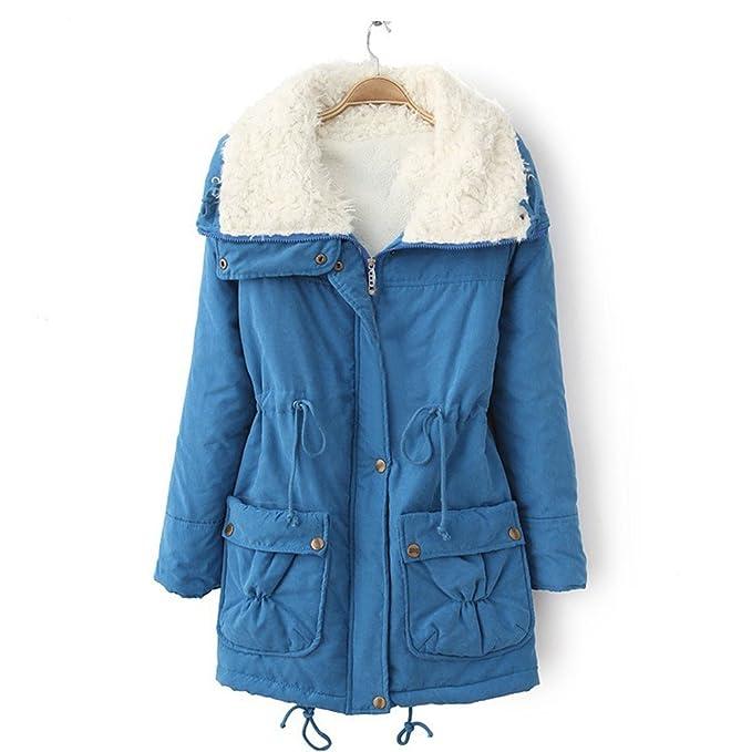 Luckycat Abrigo Invierno Mujer, Chaqueta de Las Mujeres Encapuchada Invierno Abrigo de Talla Larga (