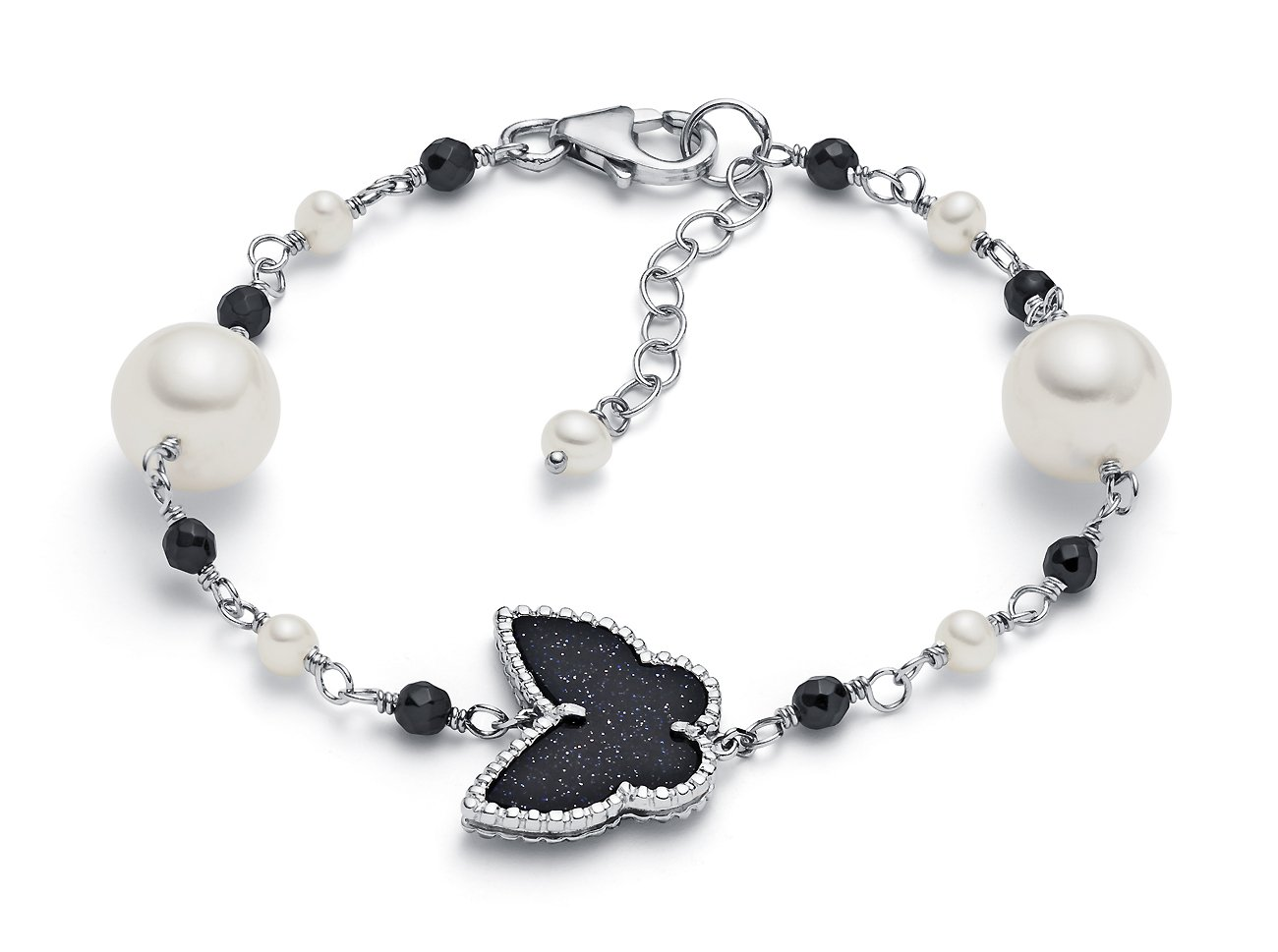 9.5-10mm Sterling Silver White Freshwater Cultured Pearl Tin Cup Bracelet AA+ Quality, 7''-8''