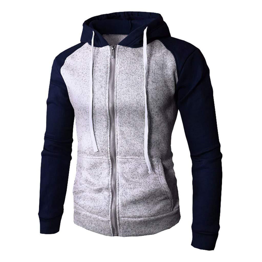 WUAI-Men Fashion Fit Full Zip Patchwork Hooded Sweatshirt Active Hoodie Outwear(Blue,US Size S = Tag M) by WUAI-Men