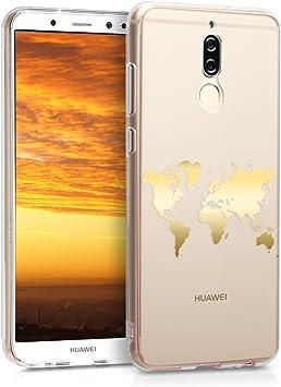kwmobile Coque Compatible avec Huawei Mate 10 Lite - Housse Protectrice pour Téléphone en Silicone Tour du Monde doré-Transparent