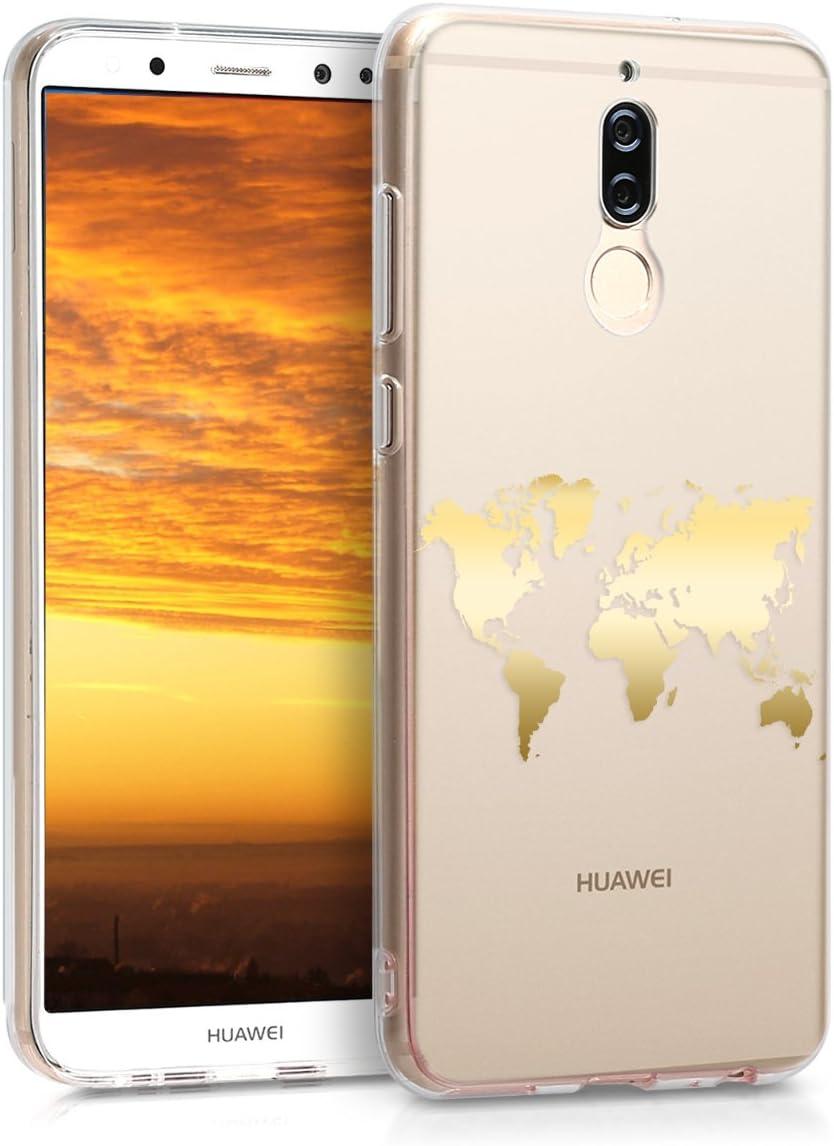 kwmobile Funda Compatible con Huawei Mate 10 Lite - Carcasa de TPU Mapa del Mundo en Dorado/Transparente