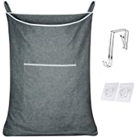CALLMYBO Hanging Laundry Hamper Bag, Space Saving Clothes Hamper for Laundry with Stainless Steel Hooks, Over The Door…