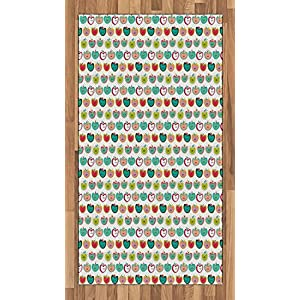 Apple Area Rug by Lunarable, Colorful Kids Tile Pattern with Stylized Cartoon Apple Figures Cheerful Fun Nature, Flat Woven Accent Rug for Living Room Bedroom Dining Room, 2.6 x 5 FT, Multicolor