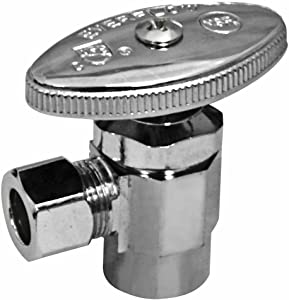 MIDLINE VALVE VLVH1214 Quarter Turn Angel Stop Valve Compression, 1/2 in. Sweat x 1/4 in, Crome