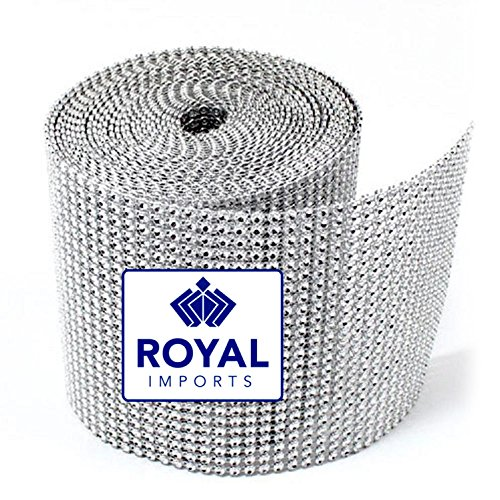 Glitter Holiday Bling Ribbon (Silver Rhinestone Ribbon Diamond Bling Sparkle Wrap Bulk DIY Roll for Event Decorations, Wedding Cake, Bridal/Baby Shower, Birthdays, Arts & Crafts Vase & Party Decorations - 30 Ft - 1 Roll)