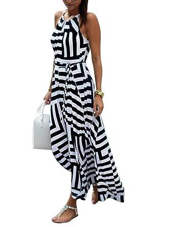 e17f966f2efb08 Lamore Klassisches Damen Ärmelloses Halter Langes Streifen Stretch  Strandkleid Sommer weiches Kleid Schwarz mit Weiß(