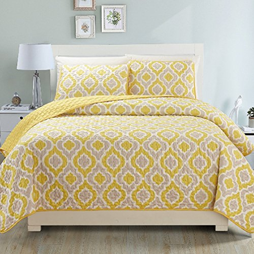 Fashion Street Gabana 3 Pc Bedspread, King Yellow