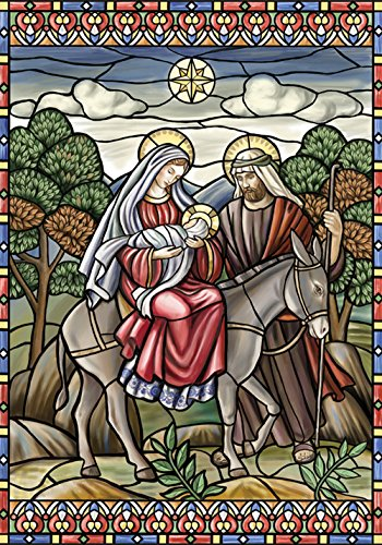 (Toland Home Garden Stained Glass Nativity 12.5 x 18 Inch Decorative Jesus Mary Joseph Christmas Star Garden Flag - 119375)