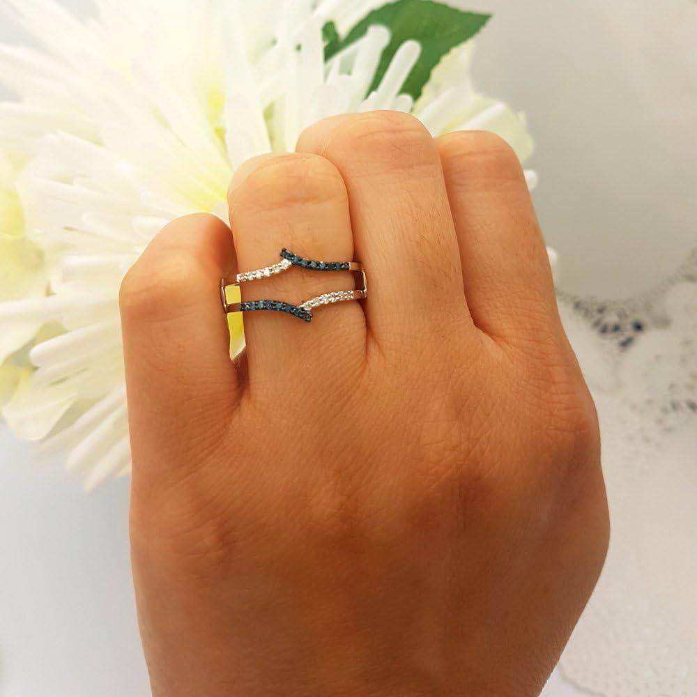 Dazzlingrock Collection 0.25 Carat ctw 14K Gold Round White /& Blue Diamond Ladies Anniversary Wedding Guard Double Ring 1//4 CT