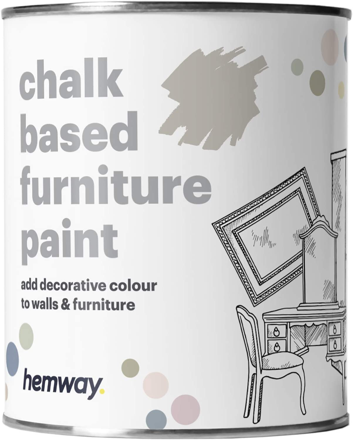 Hemway Stone Chalk Based Furniture Paint Matt Finish Wall and Upcycle DIY Home Improvement 1L / 35oz Shabby Chic Vintage Chalky (50+ Colours Available)