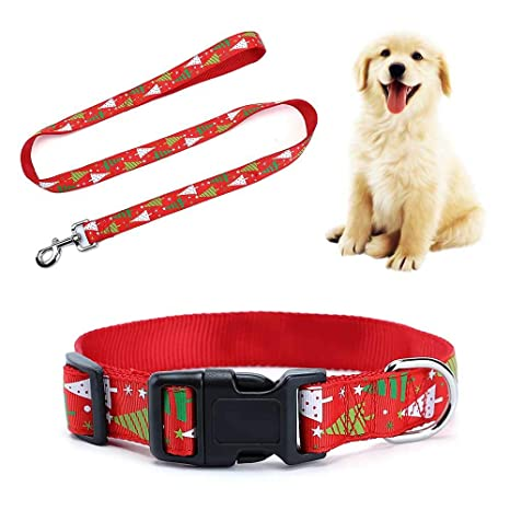 KOBWA - Conjunto de Collar y Correa para Perro, diseño de Navidad ...