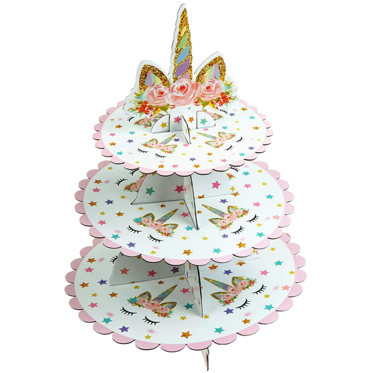JETTINGBUY 3段ユニコーン段ボールカップケーキスタンド デザートカップケーキホルダー ベビーシャワー用 性別披露宴 子供の誕生日パーティー ユニコーンテーマパーティー   B07DVYQZRC