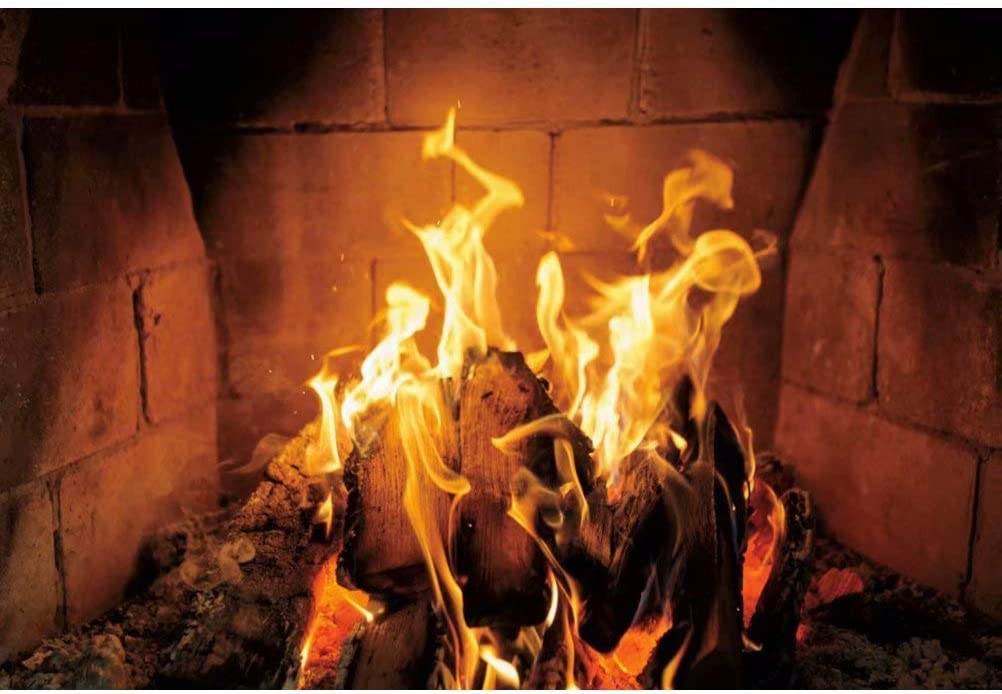 DaShan 14x10ft Burning Firewood Backdrop Fireplace Flaming Woods Camping Poster Outdoor Travel Barbeques Party Photography Background Xmas Party Newborn Baby Adult Girl Boy Portrait Photo Prop