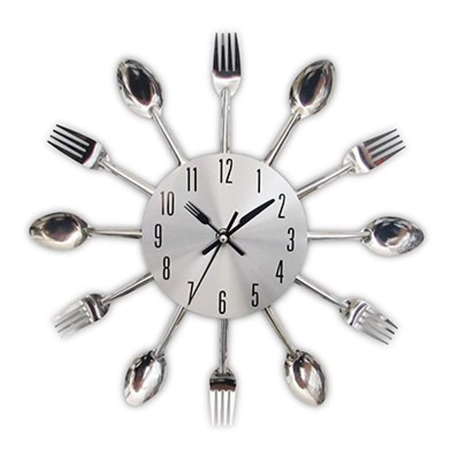 Amazon.com: CHTOP Cutlery Metal Kitchen Wall Clock - Spoon Fork Creative Quartz Wall Mounted Clocks - Modern Design Decorative Horloge Murale (Silver): Home ...